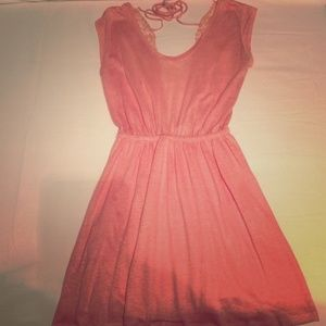 Coral ZARA Dress with Lace Back